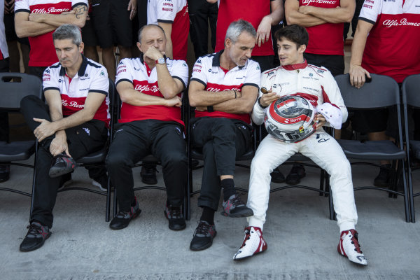 Xevi Pujolar, Alfa Romeo Sauber F1 Team Head of Track Engineering, Frederic Vasseur, Alfa Romeo Sauber F1 Team, Team Principal, Beat Zehnder, Alfa Romeo Sauber F1 Team Manager and Charles Leclerc, Alfa Romeo Sauber F1 Team