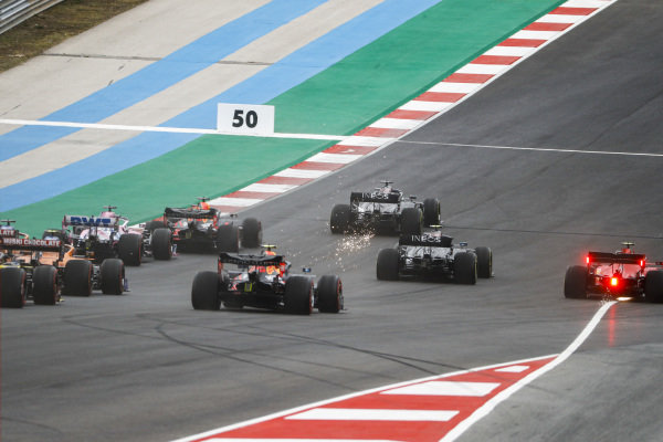 Lewis Hamilton, Mercedes F1 W11 EQ Performance leads Valtteri Bottas, Mercedes F1 W11 EQ Performance, Charles Leclerc, Ferrari SF1000, Max Verstappen, Red Bull Racing RB16 and Alexander Albon, Red Bull Racing RB16