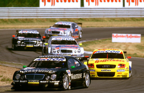 2001 DTM ChampionshipOscersleben, Germany. 19th - 20th May 2001.At the start of the race, Marcel Fassler, (AMG Mercedes-Benz CLK), leads the Audi of Laurent Aiello and Bernd Schneider - action.World Copyright: Peter Spinney/LAT Photographicref: 35mm Image A02