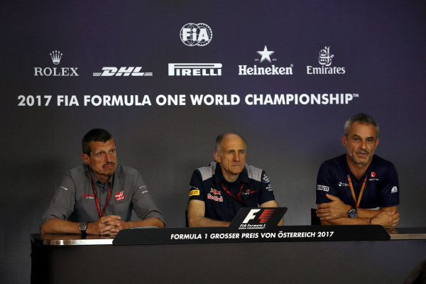 Guenther Steiner (ITA) Haas F1 Team Principal, Franz Tost (AUT) Scuderia Toro Rosso Team Principal and Beat Zehnder (SUI) Sauber F1 Team Manager in the Press Conference at Formula One World Championship, Rd9, Austrian Grand Prix, Practice, Spielberg, Austria, Friday 7 July 2017.