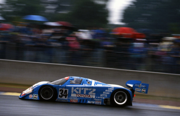 Roland Ratzenberger (AUT) / Eje Elgh (SWE) / Eddie Irvine (GBR) TOM's / Kitz Racing Team with SARD Toyota 92C-V, finished ninth. Sportscar World Championship, Rd3, 24 Hours of Le Mans, Le Mans, France, 20-21 June 1992.