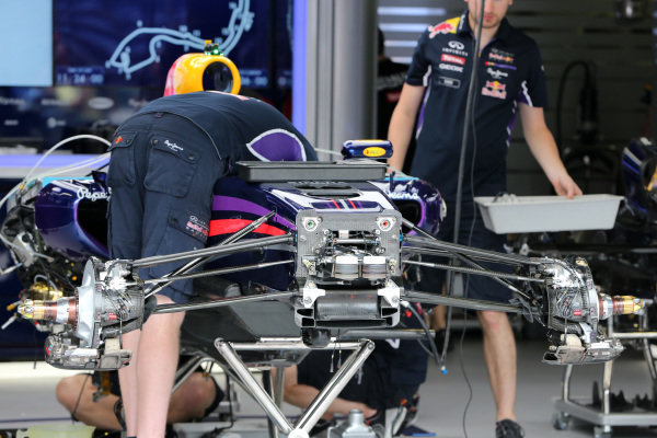 Red Bull Racing RB10 front suspension and chassis. Formula One World Championship, Rd6, Monaco Grand Prix, Preparations, Monte-Carlo, Monaco, Wednesday 21 May 2014.