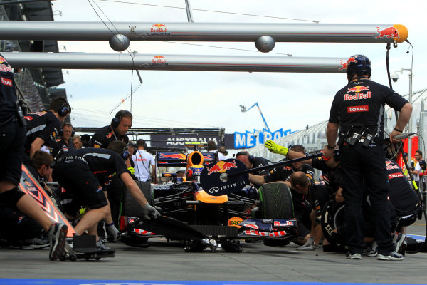 Mark Webber (AUS) Red Bull Racing RB8 makes a pit stop. Formula One World Championship, Rd1, Australian Grand Prix, Practice, Albert Park, Melbourne, Australia, Friday 16 March 2012.