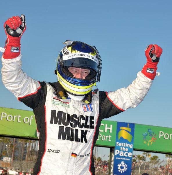 19-20 April, 2013, Long Beach, California.#6 Muscle Milk Picket Racing's Klaus Graf, P1 and overall winner. ©2013 Dan R. Boyd LAT Photo USA
