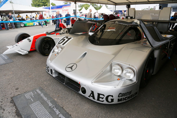 2014 Goodwood Festival of Speed  Goodwood Estate, West Sussex, England. 26th - 29th June 2014.  Sauber-Mercedes C9 sportscar and Penske PC23 Indycar.  Ref: KW5_0951a. World copyright: Kevin Wood/LAT Photographic