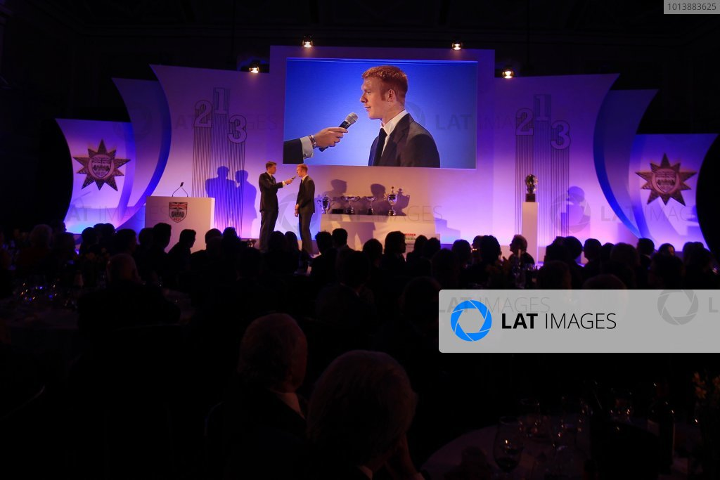 Grand Connaught Rooms, London, England. 3rd December 2012. Two-times Olympic Gold medallist Ed Clancy MBE on stage. World Copyright: Jakob Ebrey/LAT Photographic ref: Digital Image Clancy_008