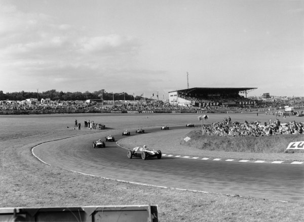 Brands Hatch, England. 29th August 1959.Jack Brabham (Cooper T45-Climax), 1st position overall, leads Stirling Moss (Cooper T45-Borgward), 3rd position overall, action.World Copyright: LAT Photographic.Ref: 19490 - 24.
