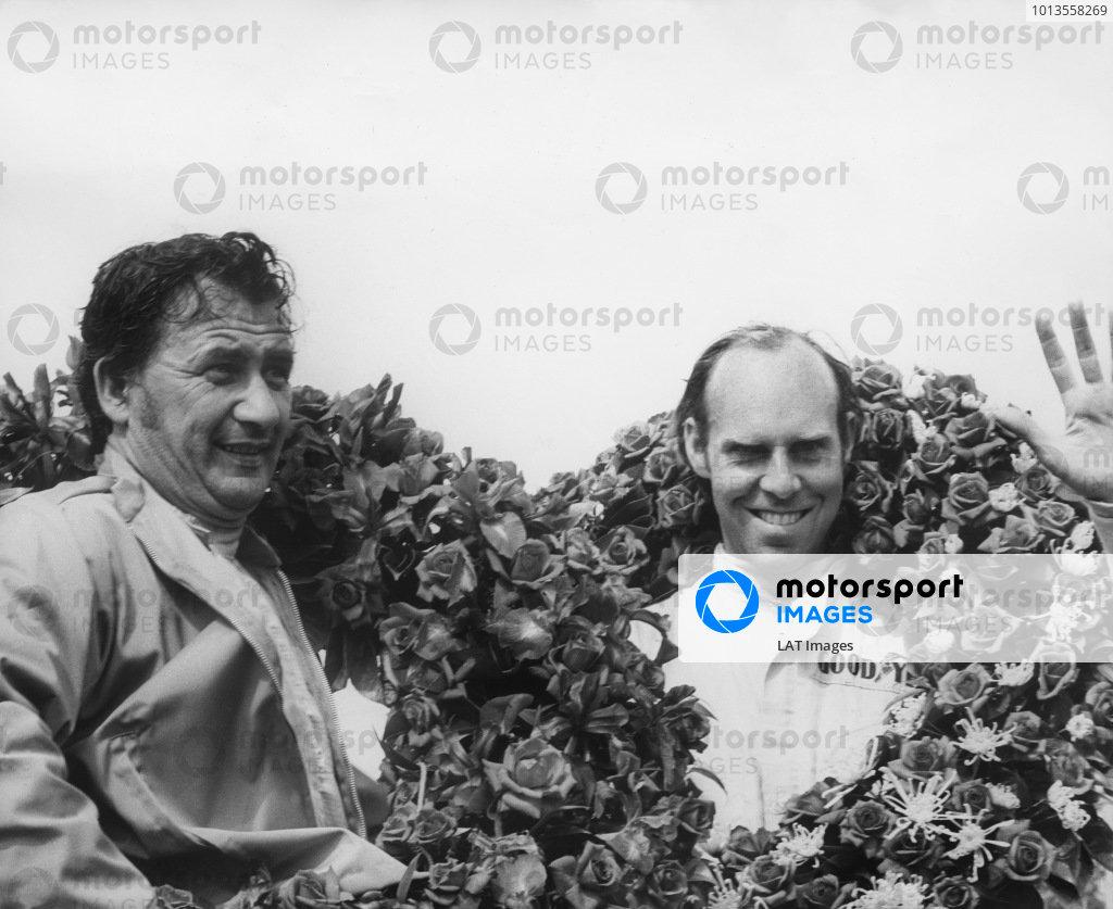 Le Mans, France. 13-14 June 1970 Hans Herrmann/Richard Attwood (Porsche 917K), 1st position, podium, portrait. World Copyright: LAT PhotographicRef: B/W Print.