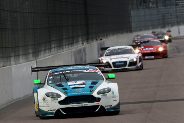 2014 Avon Tyres British GT Championship, Rockingham Motor Speedway, Northamptonshire. 4th - 5th May 2014.  Ahmad Al Harthy / Michael Caine Oman Racing Racing Team Aston Martin Vantage GT3. World Copyright: Ebrey / LAT Photographic.