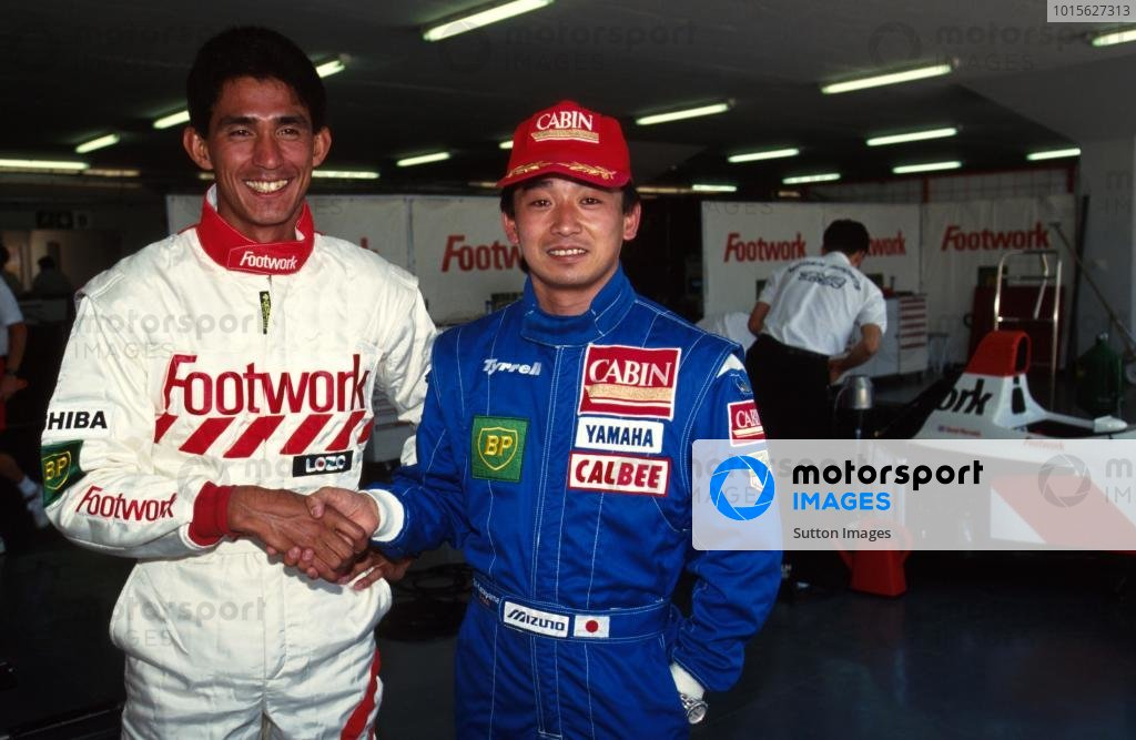 The two Japanese drivers in F1 Aguri Suzuki,left, and Ukyo Katayama, right.