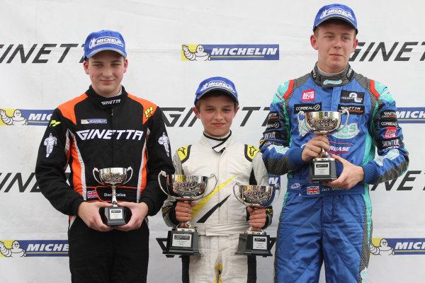 2014 Ginetta Junior Championship, Croft, North Yorkshire. 28th-29th June 2014 Podium, Zelos, Norris and Mitchell World copyright: Ebrey/LAT Photographic