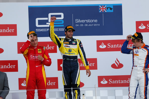 2014 GP2 Series Round 5. Silverstone International Circuit, Silverstone, Northamptonshire, England Sunday 6 July 2014. Felipe Nasr (BRA, Carlin), Stefano Coletti (MON, Racing Engineering) & Johnny Cecotto (VEN, Trident)  Photo: Sam Bloxham/GP2 Series Media Service. ref: Digital Image _SBL8386