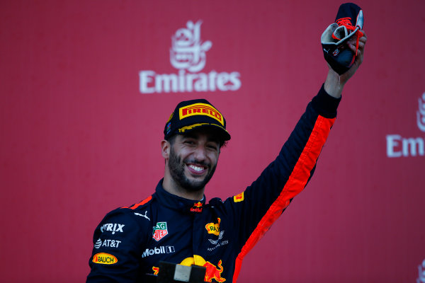 Baku City Circuit, Baku, Azerbaijan. Sunday 25 June 2017. Daniel Ricciardo, Red Bull Racing, 1st Position. World Copyright: Andrew Hone/LAT Images ref: Digital Image _ONY9228