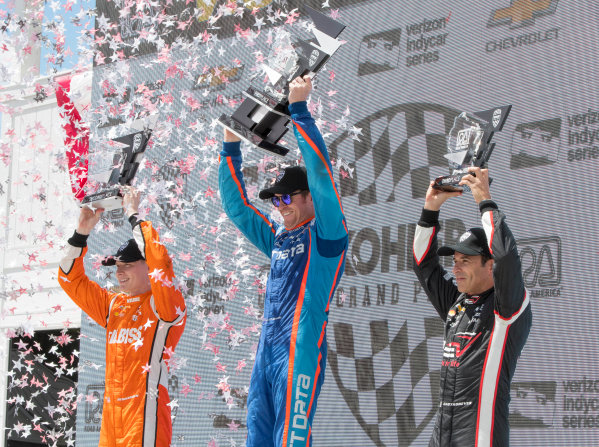 Verizon IndyCar Series Kohler Grand Prix Road America, Elkhart Lake, WI USA Sunday 25 June 2017 Podium, 2nd place Josef Newgarden, Team Penske Chevrolet, 1st place Scott Dixon, Chip Ganassi Racing Teams Honda, and 3rd place Helio Castroneves, Team Penske Chevrolet World Copyright: Geoffrey M. Miller LAT Images