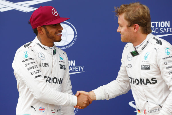 Circuit Gilles Villeneuve, Montreal, Canada. Saturday 11 June 2016. Nico Rosberg, Mercedes AMG, congratulates Lewis Hamilton, Mercedes AMG, on pole. World Copyright: Andy Hone/LAT Photographic ref: Digital Image _ONZ0575