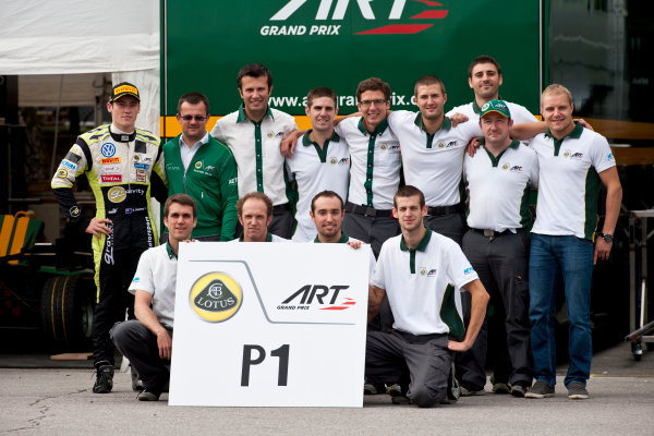 Round 7. Spa-Francorchamps, Spa Belgium. 28th August 2011. Sunday Race. The ART team celebrate victory in the teams classification with Richie Stanaway, (NZL, Lotus ART) and Valtteri Bottas, (FIN, Lotus ART).Portrait. Photo: Drew Gibson/GP3 Media Service.  ref: Digital Image _Y2Z2236