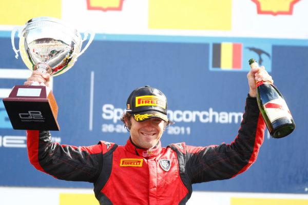 Spa - Francorchamps, Spa, Belgium. 28th August. Sunday Race. Luca Filippi (ITA, Scuderia Coloni) celebrates his victory on the podium. Photo: Glenn Dunbar/GP2 Media Service. Ref: _G7C7836 jpg