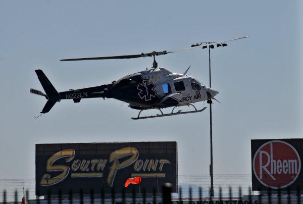 13-16 October, 2011, Las Vegas, Nevada USAMedical helicopter takes Dan Wheldon to the trama center(c)2011, Walt KuhnLAT Photo USA