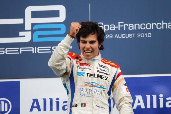 Spa - Francorchamps, Spa, Belgium. 29th August.Sunday Race.Sergio Perez (MEX, Barwa Addax Team) celebrates his victory on the podium. Portrait.Photo: Andrew Ferraro/GP2 Media Service.Ref: __Q0C5415 jpg
