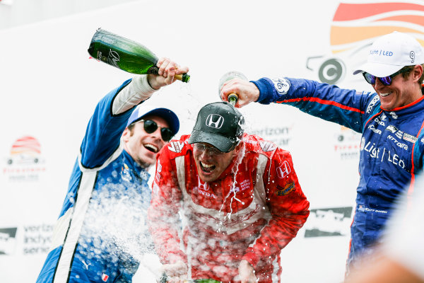 2017 Verizon IndyCar Series - Firestone Grand Prix of St. Petersburg St. Petersburg, FL USA Sunday 12 March 2017 Sebastien Bourdais , Simon Pagenaud , Scott Dixon  celebrating in victory lane with champagne World Copyright:Sam Cobb/LAT Images ref: Digital Image cobb-stpete-170312-4769