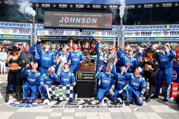 2017 Monster Energy NASCAR Cup Series O'Reilly Auto Parts 500 Texas Motor Speedway, Fort Worth, TX USA Sunday 9 April 2017 Jimmie Johnson celebrates in victory lane  World Copyright: Russell LaBounty/LAT Images ref: Digital Image 17TEX1rl_5287