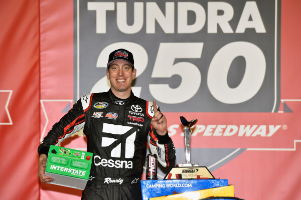 NASCAR Camping World Truck Series Toyota Tundra 250 Kansas Speedway, Kansas City, KS USA Friday 12 May 2017 Kyle Busch, Cessna Toyota Tundra celebrates his win in Victory Lane World Copyright: Nigel Kinrade LAT Images ref: Digital Image 17KAN1nk07231