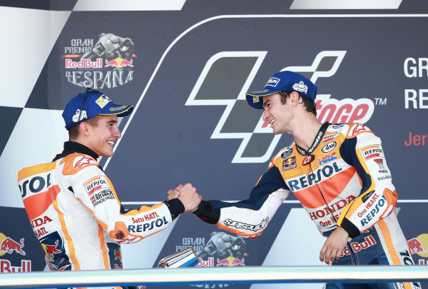 2017 MotoGP Championship - Round 4 Jerez, Spain Sunday 7 May 2017 Podium: Race winner Dani Pedrosa, Repsol Honda Team, second place Marc Marquez, Repsol Honda Team World Copyright: Gold & Goose Photography/LAT Images ref: Digital Image 668746