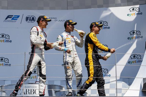 George Russell (GBR, ART Grand Prix), Artem Markelov (RUS, RUSSIAN TIME), Sergio Sette Camara (BRA, Carlin).