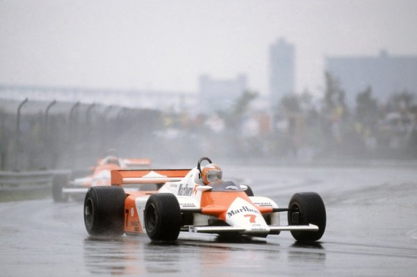 1981 Canadian Grand Prix.Montreal, Canada. 25-27 September 1981.John Watson (McLaren MP4/1-Ford Cosworth), 2nd position, leads Mario Andretti (Alfa Romeo 179C).World Copyright: LAT PhotographicRef: 35mm transparency 81CAN27