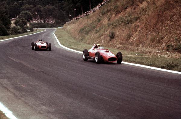 Rouen-Les-Essarts, France.5-7 July 1957.Luigi Musso (number 10) leads Peter Collins (both Lancia-Ferrari D50 801).Ref-57 FRA 11.World Copyright - LAT Photographic