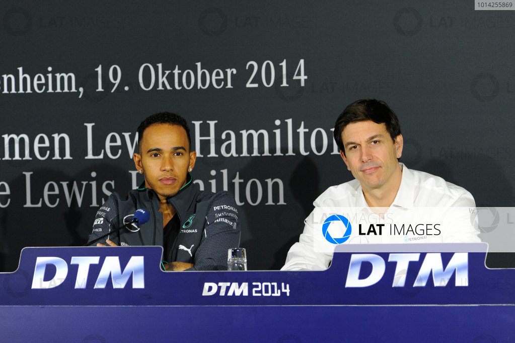 2014 DTM Championship Round 10 - Hockenheim, Germany 17th - 19th October 2014 press Conference with Lewis Hamilton (UK), Formula One World Champion (2008) and WM leader 2014 and Toto Wolff (AUT) executive director of the Mercedes AMG Petronas Formula One Team, World Copyright: XPB Images / LAT Photographic  ref: Digital Image 3354595_HiRes