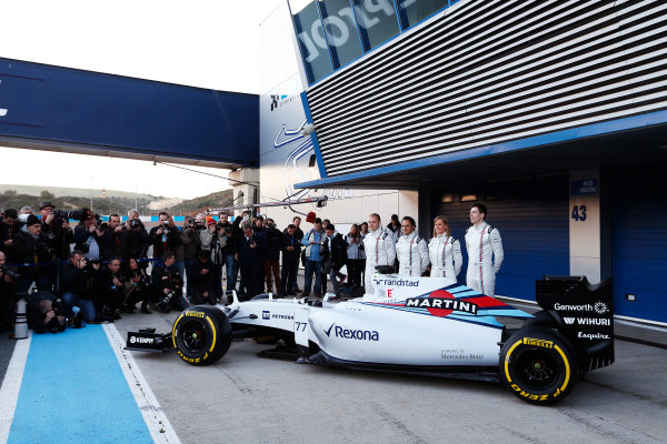 2015 F1 Pre Season Test 1 - Day 1 Circuito de Jerez, Jerez, Spain. Sunday 1 February 2015. Valtteri Bottas, Williams F1, Felipe Massa, Williams F1, Susie Wolff, Development Driver, Williams F1, and Alex Lynn, Williams F1, launch the FW37. World Copyright: Alastair Staley/LAT Photographic. ref: Digital Image _79P8376