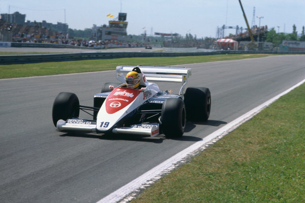 1984 Canadian Grand Prix. Montreal, Canada.15-17 June 1984. Ayrton Senna (Toleman TG184-Hart), 7th position, action.  World Copyright: LAT Photographic. Ref:  84 CAN 14.