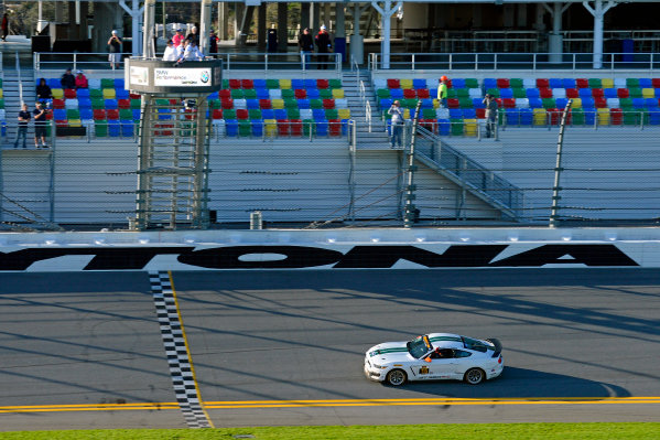 27-29 January, 2016, Daytona Beach, Florida USA 15, Ford, Shelby GT350R-C, GS, Scott Maxwell, Billy Johnson takes the checkered flag. ?2016, F. Peirce Williams LAT Photo USA