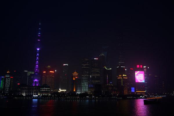 Shanghai International Circuit, Shanghai, China. Wednesday 13 April 2016. A view of Shanghai at night. World Copyright: Sam Bloxham/LAT Photographic ref: Digital Image _L4R2307