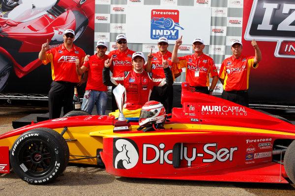20-21 July, 2012, Edmonton, Alberta CACarlos Munoz celebrates with his crew in victory lane.(c)2012, Phillip AbbottLAT Photo USA