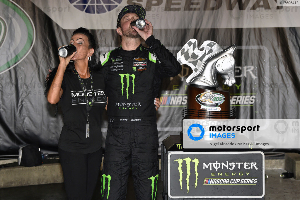 #1: Kurt Busch, Chip Ganassi Racing, Chevrolet Camaro Monster Energy celebrates his win