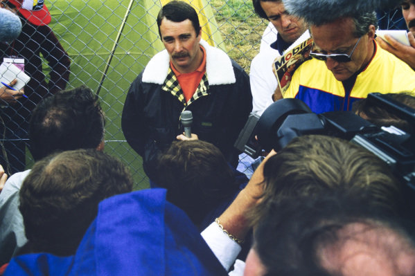 Nigel Mansell is interviewed.