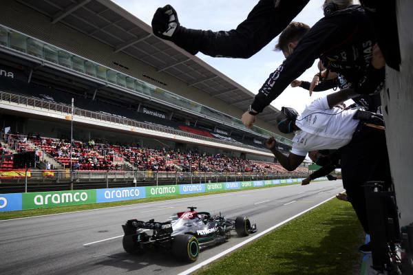 Sir Lewis Hamilton, Mercedes W12, 1st position, takes victory