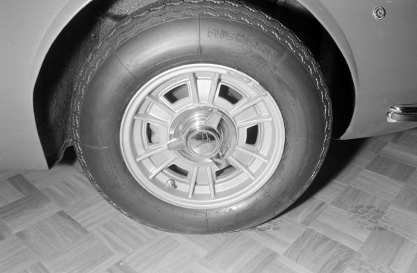 Alloy wheel fitted to a Ferrari Dino.