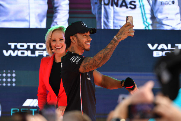 Lewis Hamilton, Mercedes AMG F1, at the Federation Square event