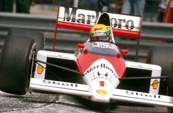 Monte Carlo, Monaco.4-7 May 1989.Ayrton Senna (McLaren MP4/5 Honda) 1st position.Ref-89 MON 21.World Copyright - LAT Photographic