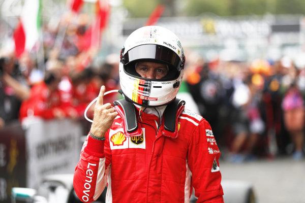 Sebastian Vettel, Ferrari, 1st position, celebrates in Parc Ferme.