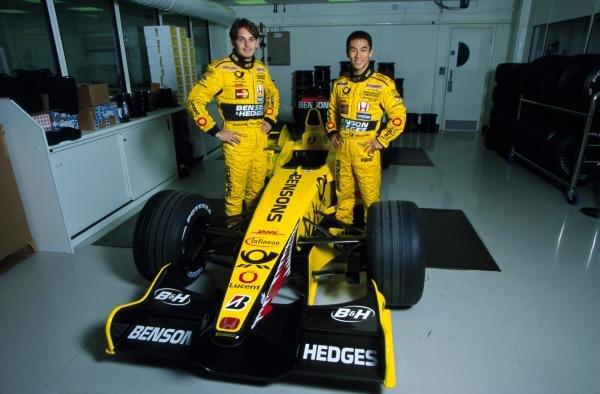 Team mates for 2002, Giancarlo Fisichella (ITA) (left) and Takuma Sato (JPN) (right) at the Jordan Factory.Jordan Grand Prix, Silverstone, England, 14 December 2001.