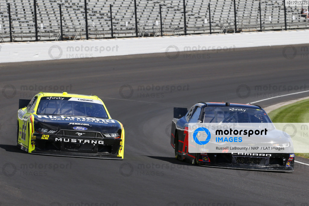 #74: Mike Harmon, Mike Harmon Racing, Chevrolet Camaro and #22: Austin Cindric, Team Penske, Ford Mustang Menards/Richmond