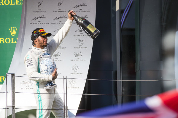 Lewis Hamilton, Mercedes AMG F1, 1st position, leaves the podium