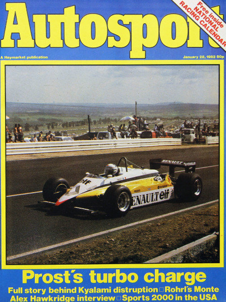 Cover of Autosport magazine, 28th January 1982