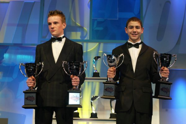 2003 AUTOSPORT AWARDS, The Grosvenor, London. 7th December 2003.Two young Karters show off their trophies.Photo: Peter Spinney/LAT PhotographicRef: Digital Image only