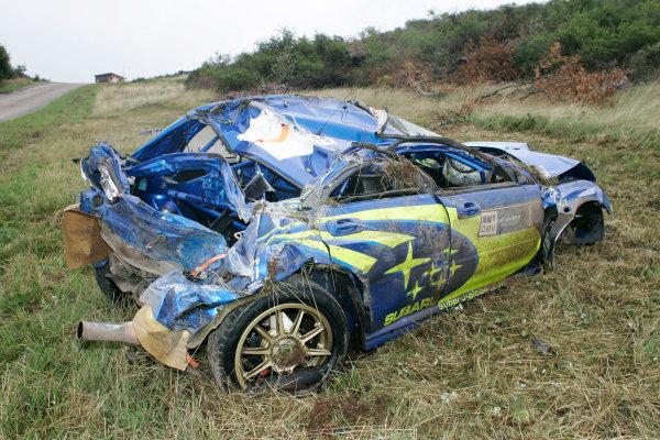 2004 FIA World Rally Champs. Round ten, OMV Deutschland Rally.19th - 22nd August 2004.Petter Solberg, Subaru, crash.World Copyright: McKlein/LAT