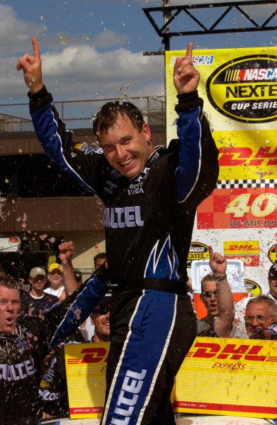 18-20 June, 2004, Michigan International Speedway, USA,Ryan Newman out of winning car,Copyright-Robt LeSieur 2004 USALAT Photographic